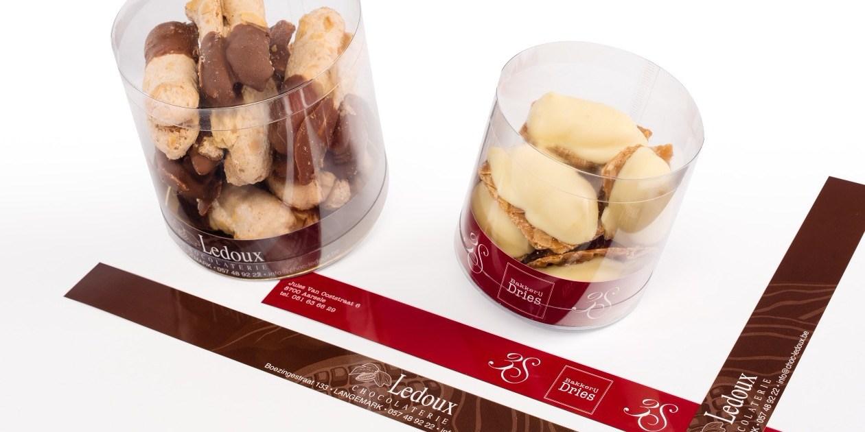Strips Mikakokers naamdruk Chocolala confiserie chocolaterie Ledoux