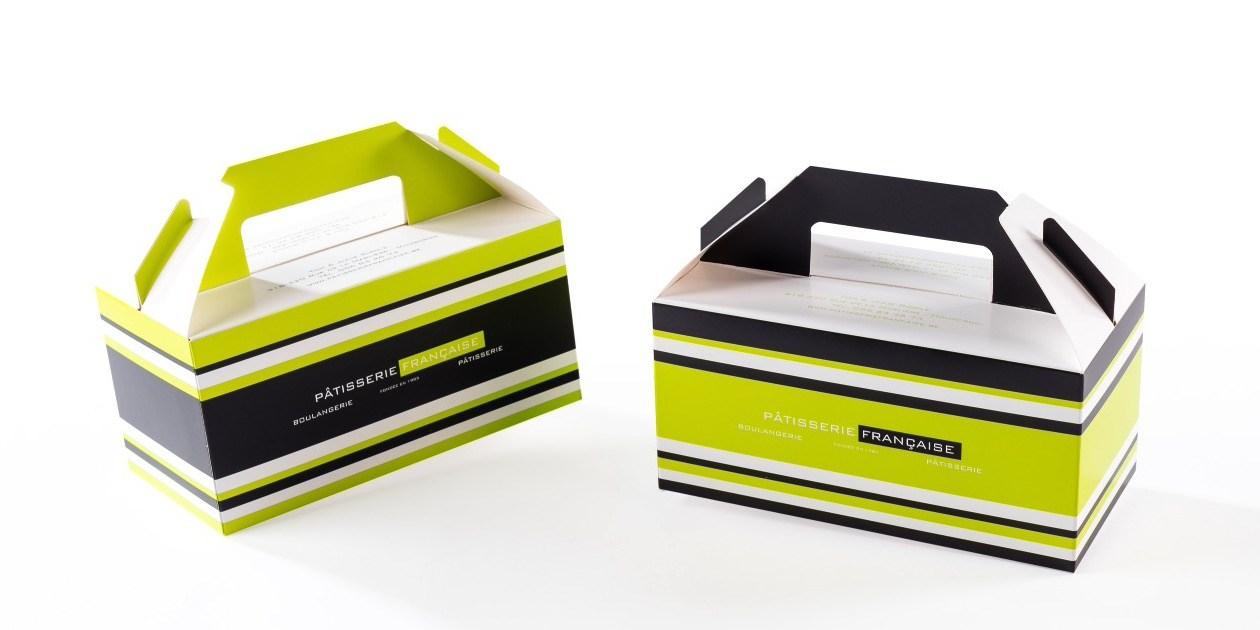 Boite poignée handvatdoosje Patisserie Gruyaert Packaging