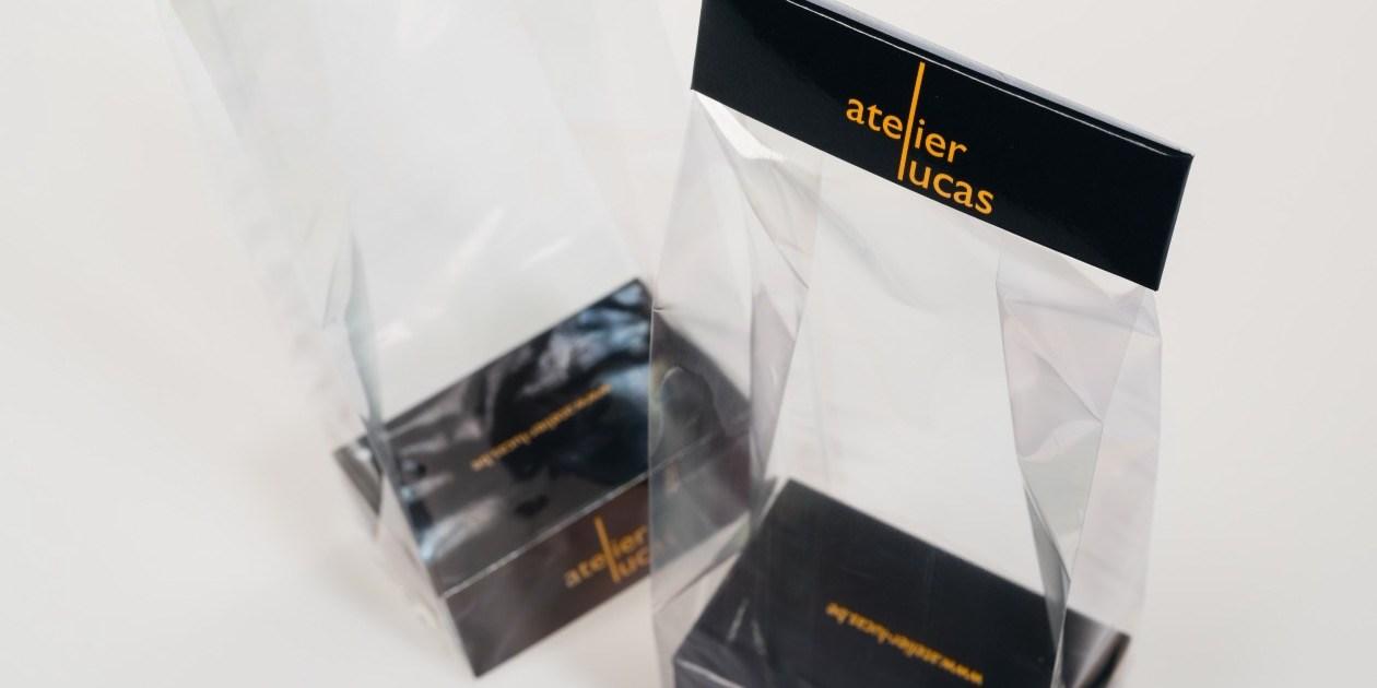Polyprop zakjes bedrukt sokkels en sluitingen confiserie Atelier Lucas